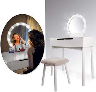 CCLIFE Tocador con Espejo, Bombillas para Maquilla
