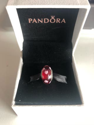 Charm murano Pandora auténtico rojo corazones