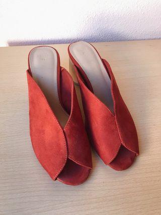 Sandalias tacón madera