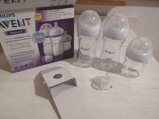 kit / Pack 3 biberones VIDRIO + chupete, +0 meses