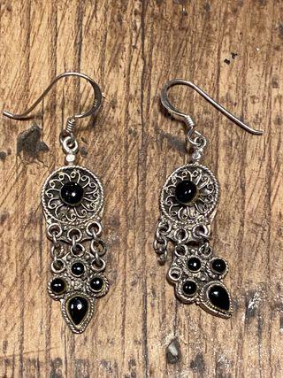 Pendientes plata antigua y piedra ónix