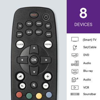 Mando a distancia universal para 8 dispositivos.
