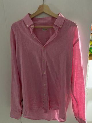 Camisa lino rosa XL