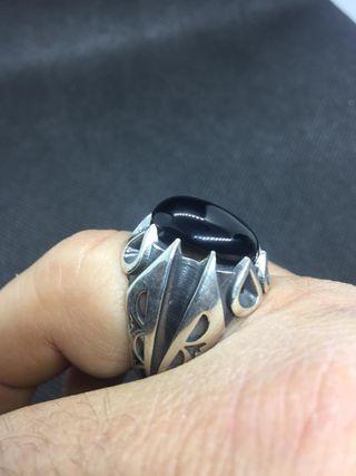 Anillo plata de ley artesanal con piedra