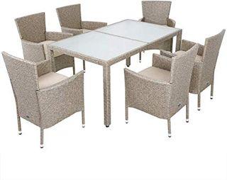 Casaria Conjunto de sillas y mesa de poliratán Gri