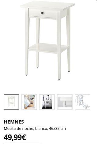 Dos mesitas de noche Ikea HEMNES color blanco.