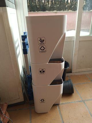 cubos de basura apilables y reciclables