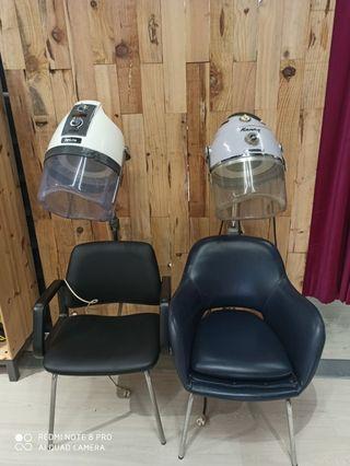 asientos peluquería vintage con secador de casco