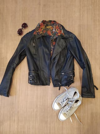 Genuine leather jacket Pull&bear