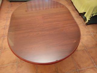 Mesa camilla de madera,ovalada extensible