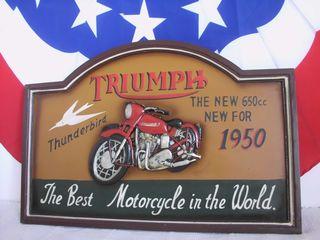 cuadro madera TRIUMPH motorcycles