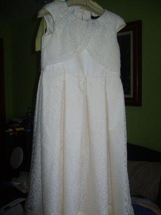 Vestido Comunión 100%seda natural, cancán y tocado
