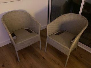 Dos sillones jardin rattan mimbre
