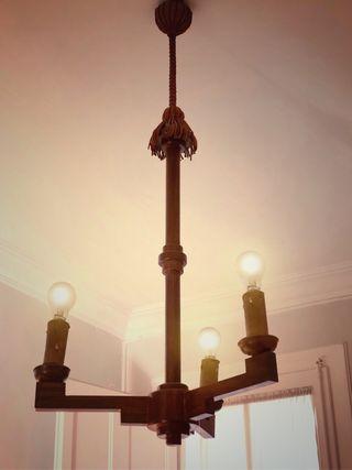 Lámpara de techo antigua de madera 50's