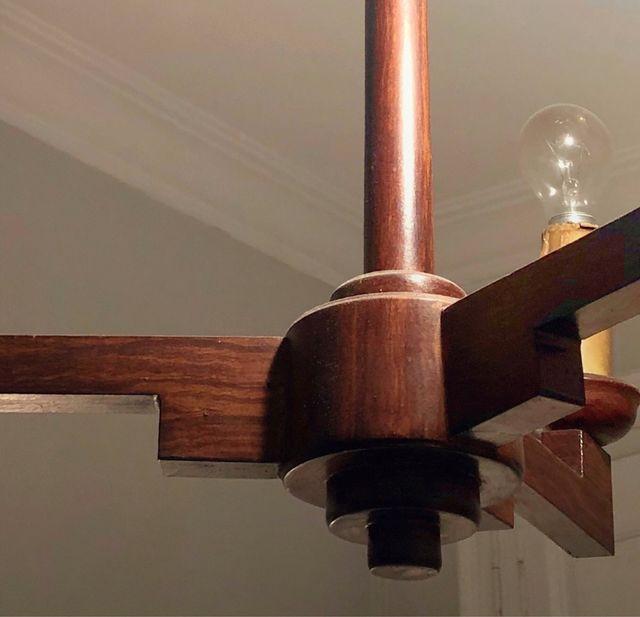 REBAJA! Lámpara de techo antigua de madera 50's