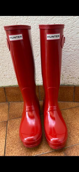 Botas hunter rojas + calcetines originales