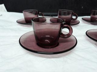 Duralex lila, france, 11 piezas