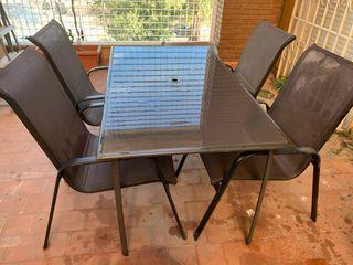 Mesa y 6 sillas de jardín, muebles de terraza