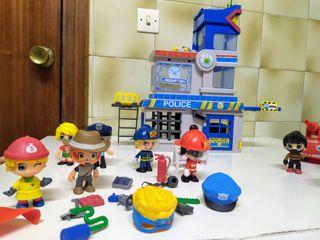 comisaría policía y muñecos pinypon