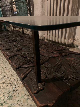 Mesa antigua madera/ hierro/ cristal