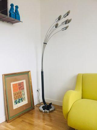 Lámpara de pie cromada 6 brazos vintage