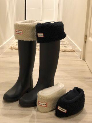 Botas hunter refined negro y calcetines