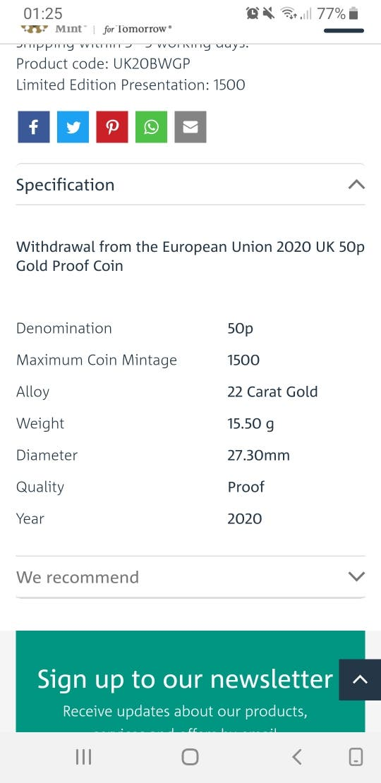 withdrawal from the EU gold UK Brexit 50p Coin