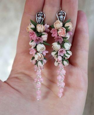 Preciosos Pendientes de porcelana para novia