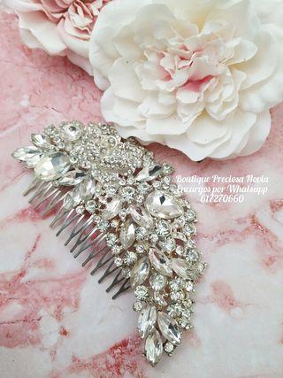Tocado Joya de novia de cristal en color plata
