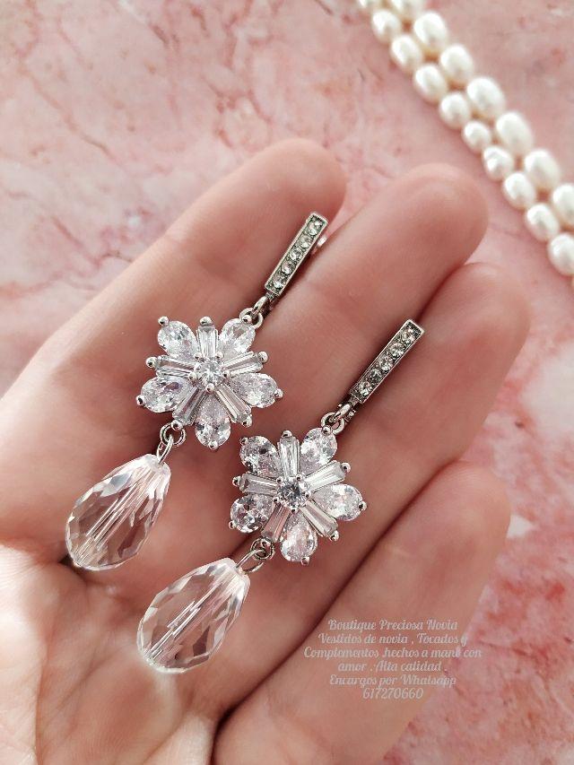Pendientes Swarovski joyas para novia en plata 925