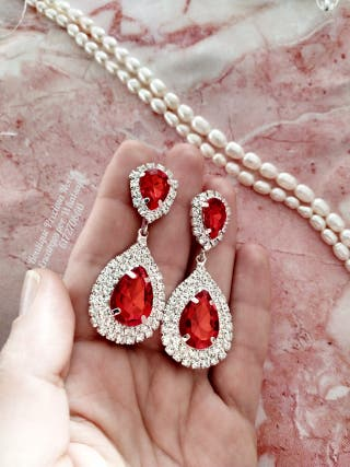 Pendientes color rojo y plata joya invitada boda