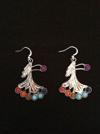 Chakra Gemstone Beads Fashion Angel Earrings