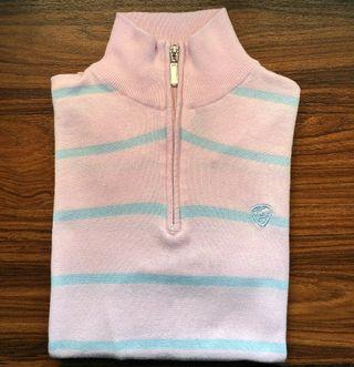 Jersey cuello alto rosa y rayas azules