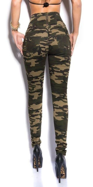 HIGH WAIST CAMOUFLAGE JEANS TROUSERS UK 6