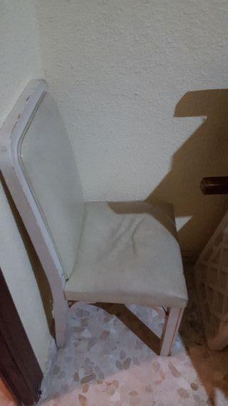 4 silla de madera para vender blanco con piel