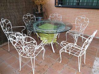 Mesa y 6 sillones de forja vintage