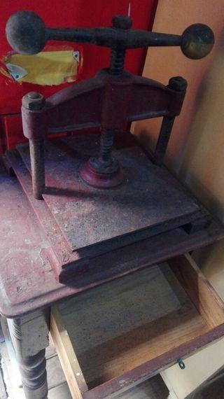 prensa encuadernación antigua vintage