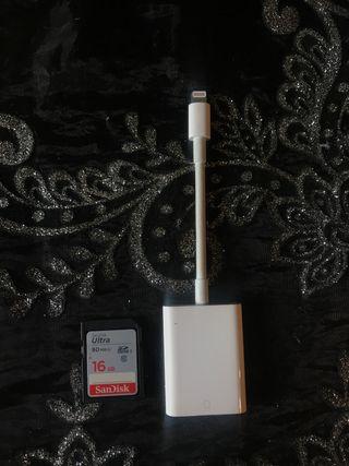 Adaptador de conector a lector SD + tarjeta SD