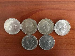 6 monedas de 100 pesetas 1966