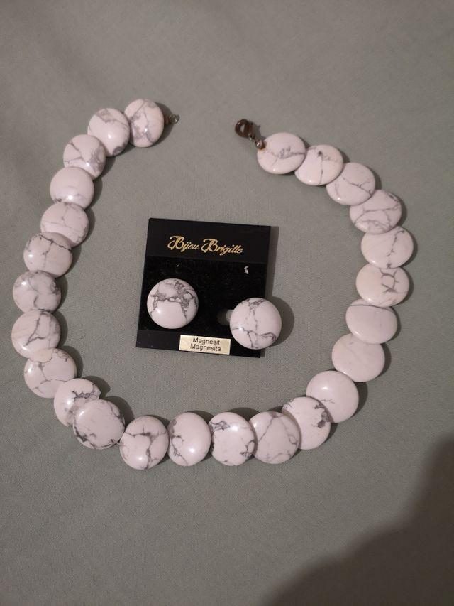 conjunto pendientes y gargantilla piedra magnesita