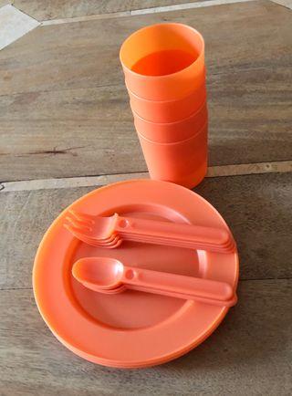 set vaisselle pique-nique orange Neuf