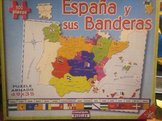 Puzzle España y sus Banderas