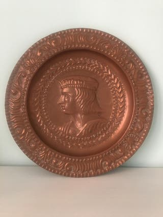2 Platos de cobre antiguos Reyes Católicos