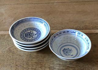 set de 5 coupelles porcelaine chinoise grain de ri