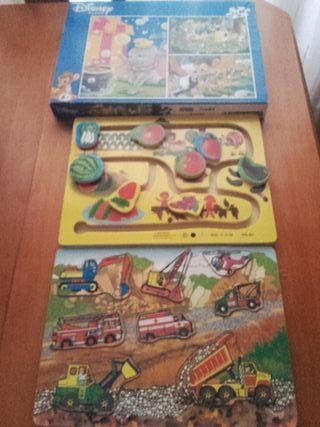Puzzle y 2 juegos de madera para niñ@s