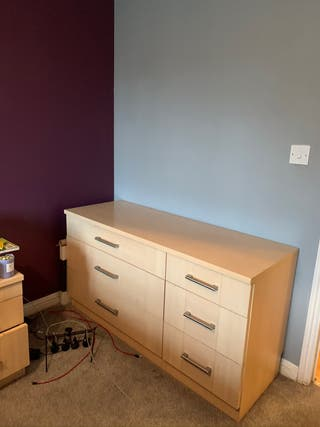 Wood chest of drawers with bedside table