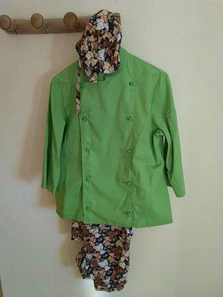 chaqueta de cocina verde entallada