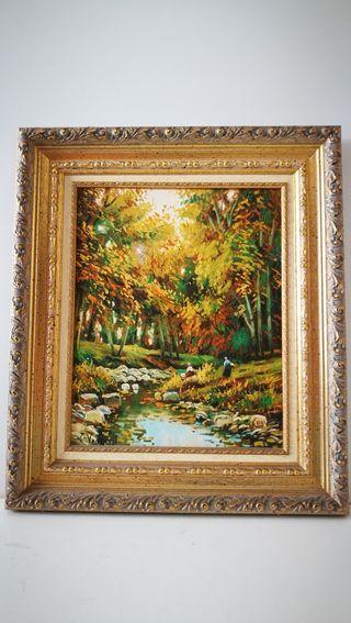 Cuadro pintado oleo sobre lienzo 58x50. Está firma