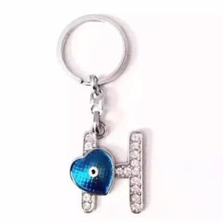 Initial H Diamanté And Blue Heart Eyed Keyring