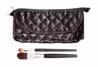 Black Quilted Small Make-Up Bag With Brushes